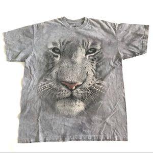Vtg mens XL t shirt graphic white tiger nature